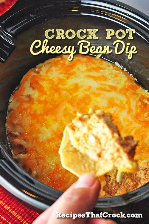Crock Pot Cheesy Bean Dip #Crockpot #SlowCooker