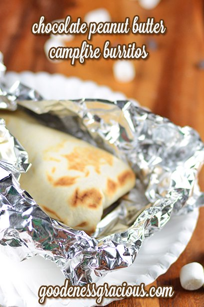 Chocolate Peanut Butter Campfire Burritos