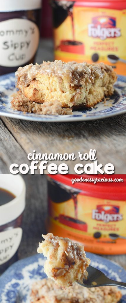 Cinnamon Roll Coffee Cake is the perfect easy breakfast recipe to go with your favorite cup of coffee. This recipe would be a so simple to throw together for the holidays. #FolgersInIndy