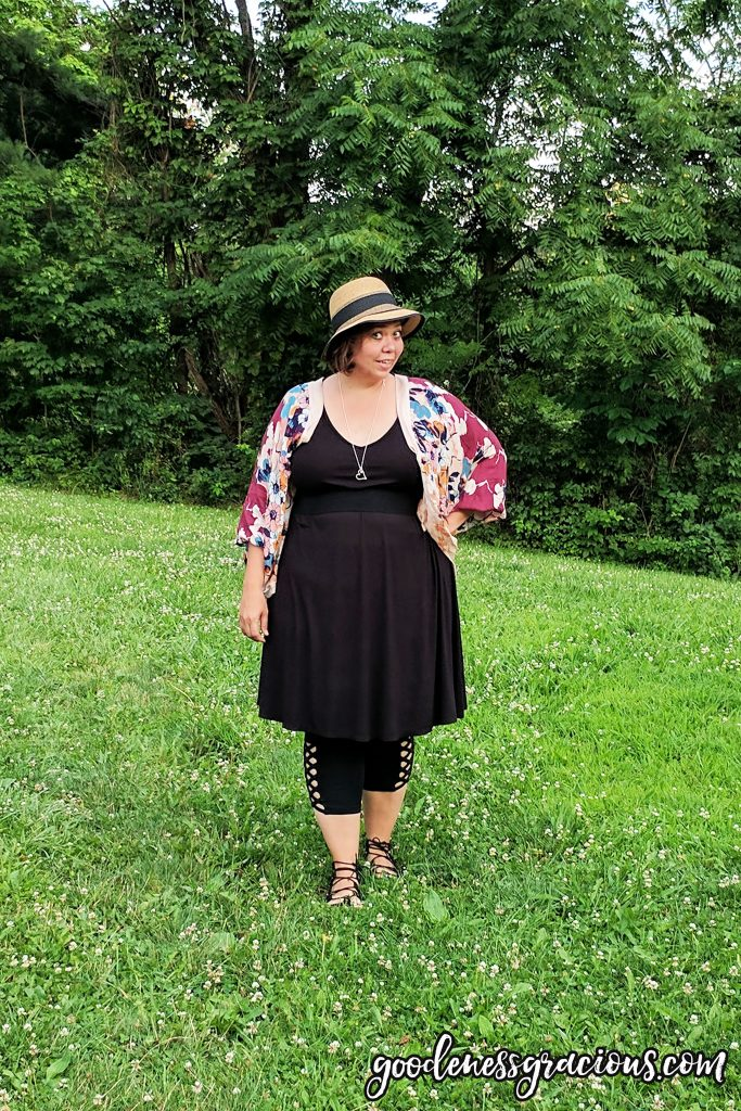 Plus Size Clothing - Black T-Shirt Dress with Leggings and Kimono
